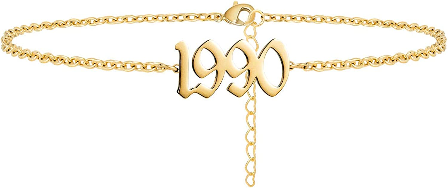 Lcherry Birth Year Number Anklet 14K Real Gold Plated Ankle Bracelet for Women Beach Foot Jewelry Birthday Gifts