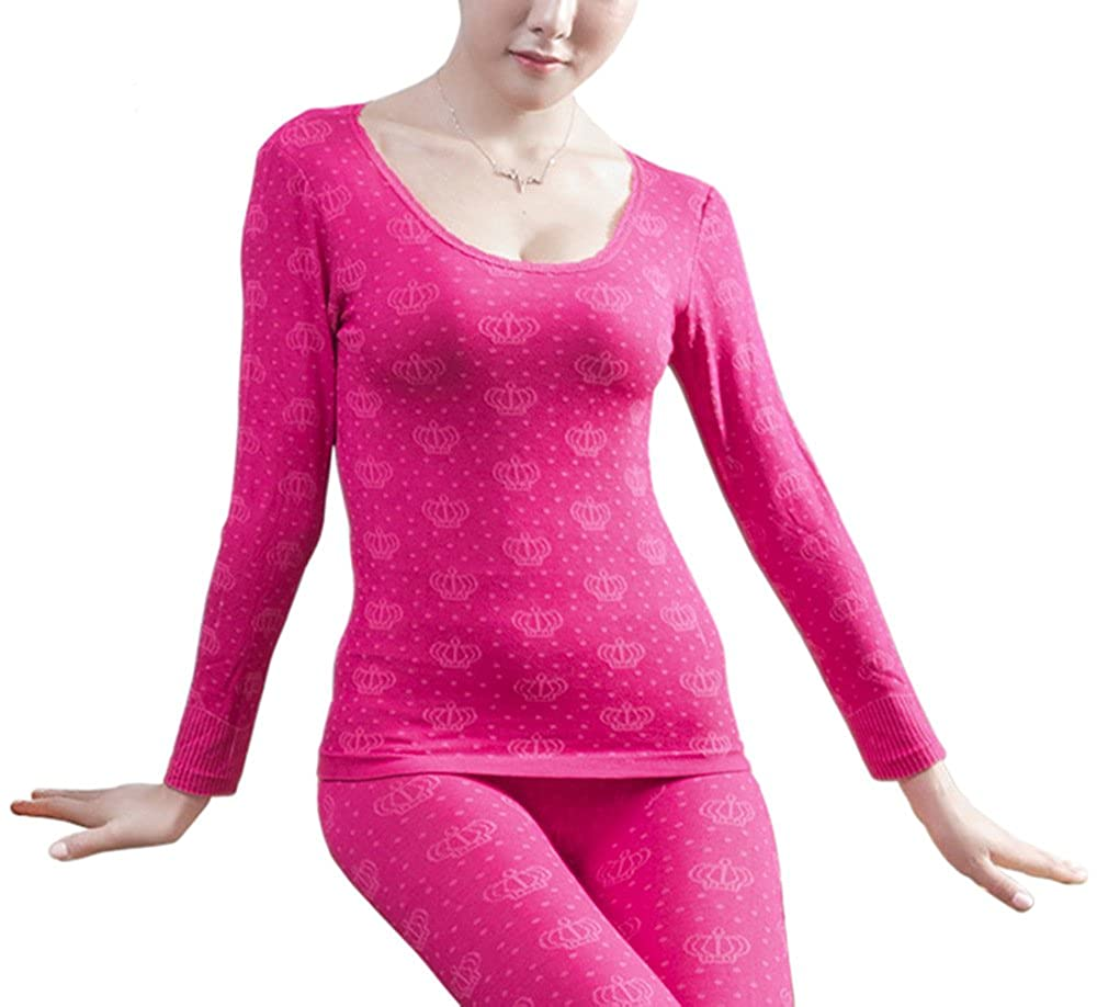 G-Fengshang Women's Ultra Thin Top & Bottom Long Johns Thermal Underwear Set