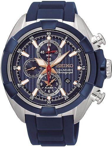 Relógio de quartzo analógico dos homens Seiko com pulseira de silicone , modelo SNAF59P1