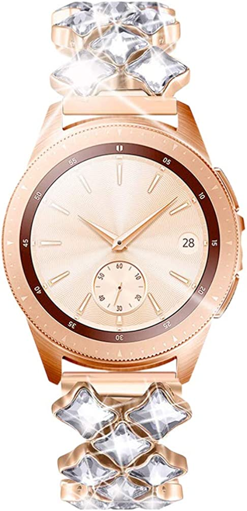 ULTECHNOVO Correa de Reloj de Acero Inoxidable Diamantes Correa de Reloj reemplazo de Banda de Reloj Compatible para Reloj Galaxy (42 mm Plata)