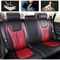 Car Seat Cover for Suzuki Vitara Kizashi Swift Sport Alto Universal Car Seat Protectors 5-Seat Full Set Artificial Leather Waterproof,Easy Install,Black Red