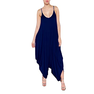 Abetteric Women Sexy Sling Overall Jumpsuits Bodysuit Dark Blue XS