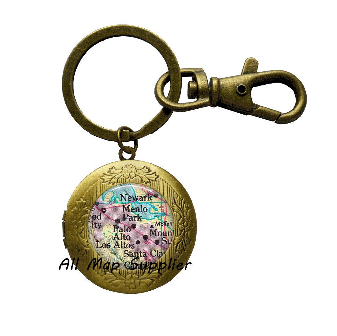 Amazon.com : Charming Locket Keychain, Palo Alto map Locket Key Ring on