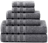 American Soft Linen Premium, Luxury Hotel & Spa Quality, 6 Piece Kitchen & Bathroom Turkish Towel Set, Cotton for Maximum Softness & Absorbency, [Worth $72.95] Grey