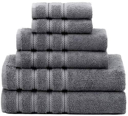 Premium, Luxury Hotel & Spa Quality, 6 Piece Kitchen and Bathroom Turkish Towel Set, Cotton for Maximum Softness and Absorbency by American Soft Linen, [Worth $72.95] (Grey)