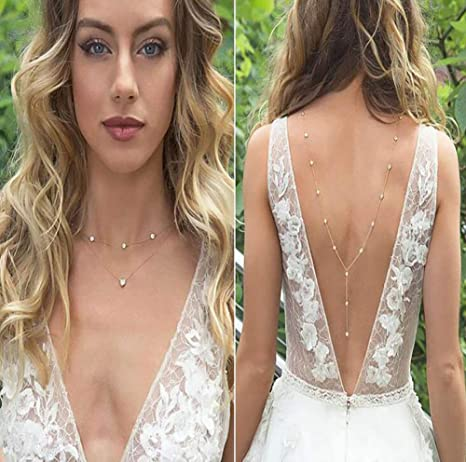 Casue Braut Ruckenfreies Kleid Halskette Korper Kette Amazon De Elektronik