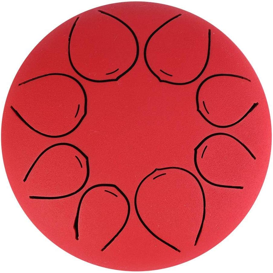 Stainless Steel Tongue Drum 5 Inch Mini Percussion Note Tones Percussion Instrument Tongue Tank Handpan for Full Ethereal Sound Red