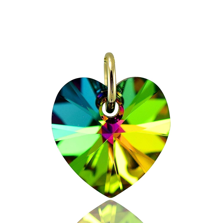 Solid 9ct collar de corazón de oro y verde de cristal de Swarovski de fuego 40,64 cm, 45,72 cm, 50,8 cm o colgante sólo - 0 cm
