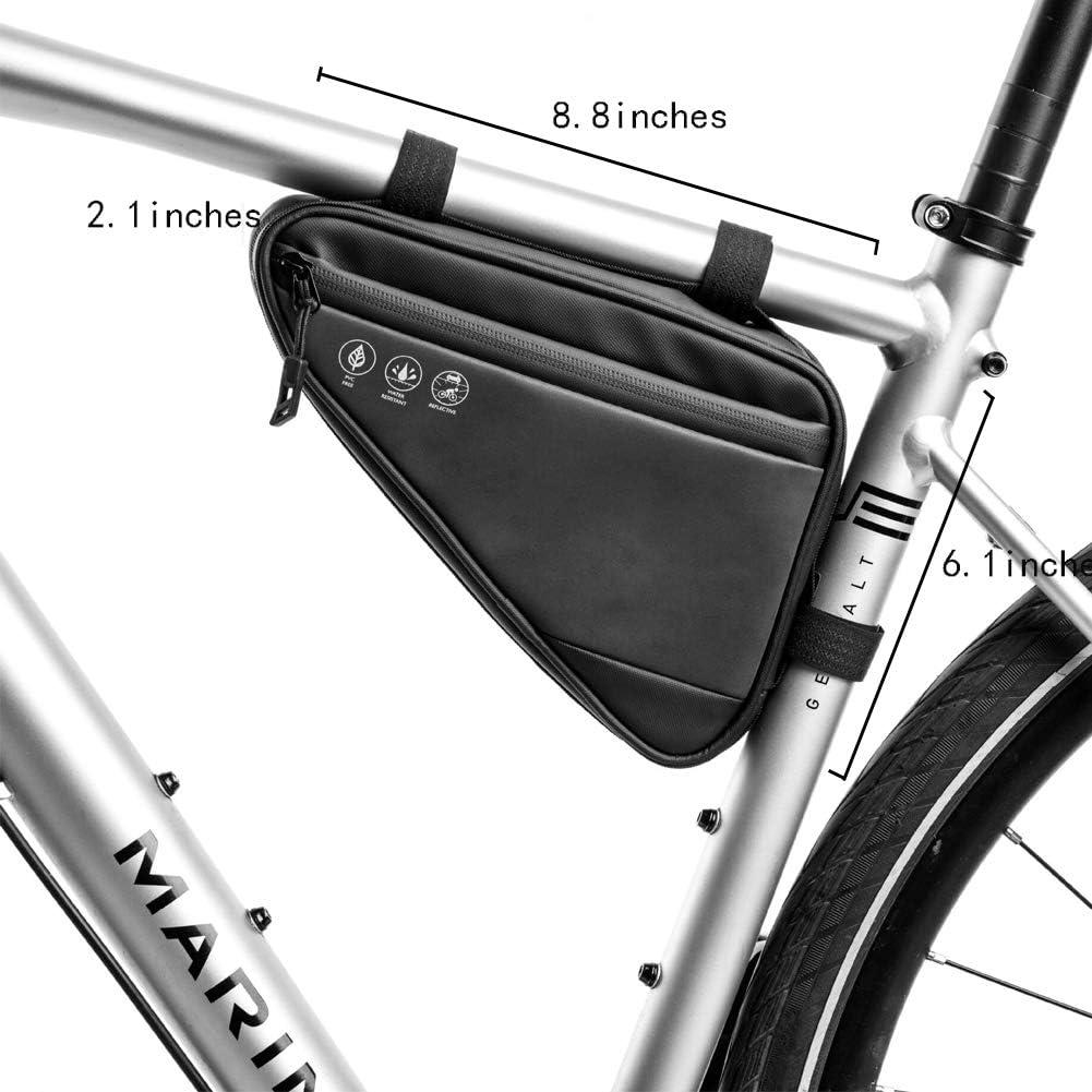 Tofern Bike Frame Bag Water Resistant Nylon Cycling Bag Bike Top Tube Triangle Bag Front Saddle Bag Frame Top Tube Pouch Storage Bag Bicycle Detachable Frame Double bag Durable