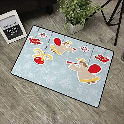 Interior door mat W35 x L47 INCH Angel,Fairy Playing Trumpet Halo Spiritual Wings with Xmas Birds Balls Celebration,Red Beige Blue Grey Our bottom is non-slip and will not let the baby slip,Door Mat C