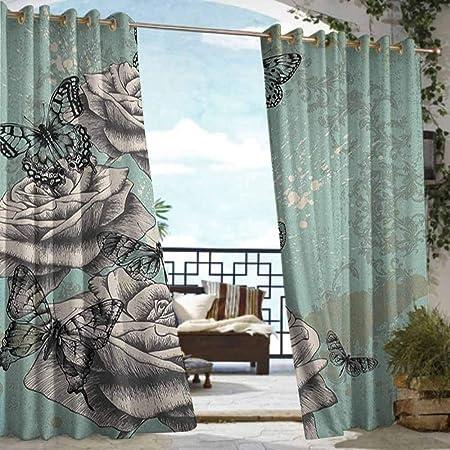 Cortina de privacidad para exteriores con diseño de pérgola de rosas, patrón de jardín floreciente con