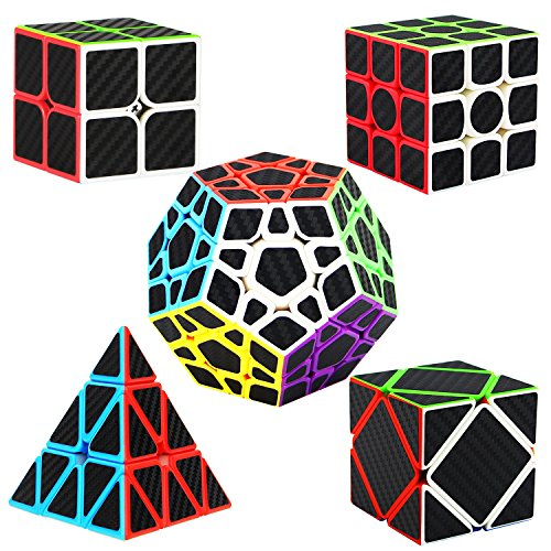 Price comparison product image Dreampark Speed Cube Bundle [5 Pack] 2x2 3x3 Megaminx Skew Pyramid Carbon Fiber Sticker Magic Cube Puzzle Toy Set of 5