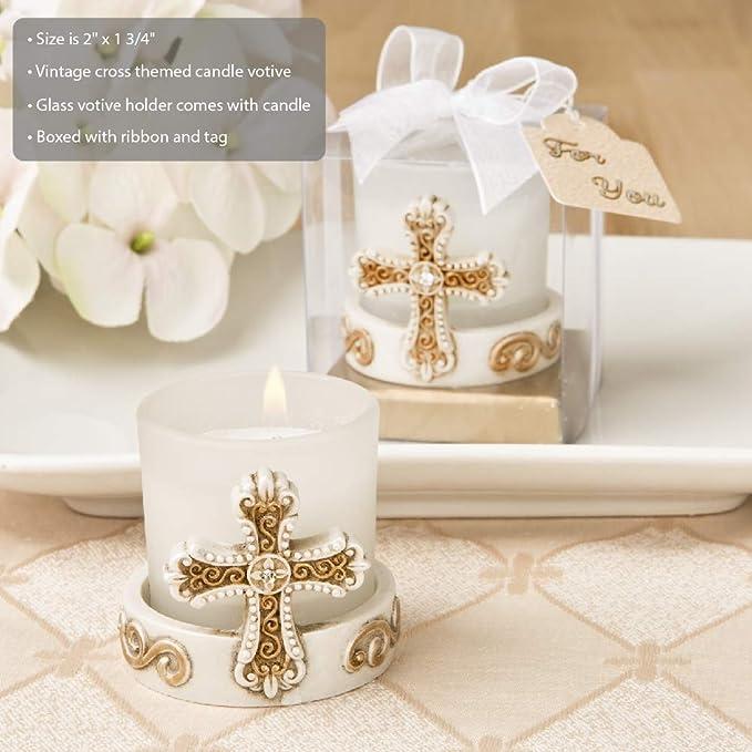 baptism favor cross candle votive candle favor Christening fav first communion Set of 6 Cross Themed White /& pink votive Candle Holder