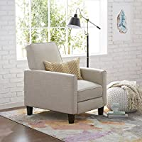 Petite, Solid-Framed Recliner Club Chair Made of Light Beige Fabric with a 42-inch Full Reclined Length By Christopher Knight Home