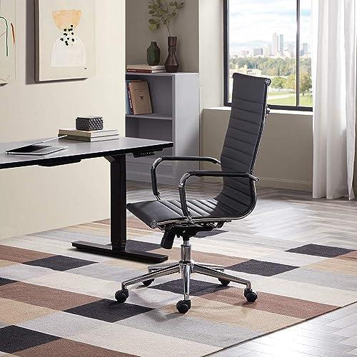 BELLEZE Modern High-Back Ribbed Faux Leather Adjustable Height Tilt Swivel Upholstered Computer Conference Desk Office Chair