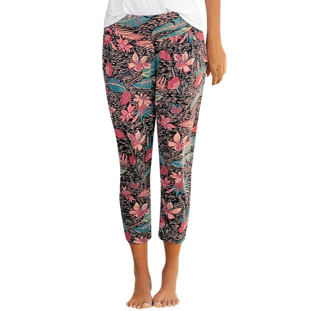 HHei_K Womens Retro Casual Mid Waist Slim Flower Printed Pocket Calf Length Cropped Pants Trousers