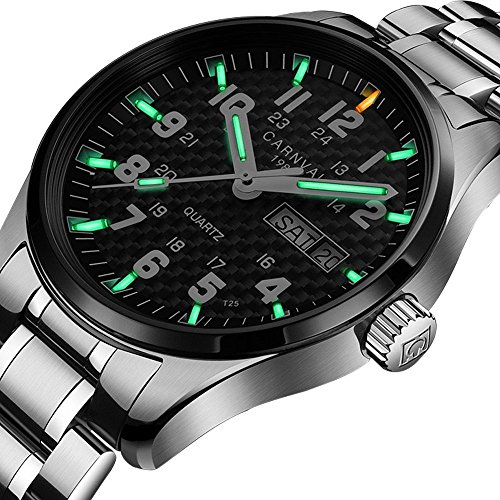 Quartz Watch Bright Mens (Swiss Brand Analog Quartz Watch Outdoor Military Tritium Gas Super Bright Self Luminous Blue Or Green (Black Bezel-Green Light))