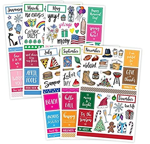 Bloom Daily Planners Holiday Seasonal Planner Sticker Sheets - Seasonal Sticker Pack - Over 230 Stickers Per (A Sticker)