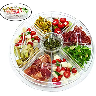 Jumbl Appetizer Serving Tray with Lids | 4 Revolving Duel Cups-on-Ice