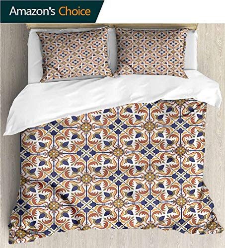 carmaxs-home Modern Pattern Printed Duvet Cover,Box Stitched,Soft,Breathable,Hypoallergenic,Fade Resistant 100% Cotton Beding Linens for Kids Children-Moroccan Arabesque Scroll Tile (87