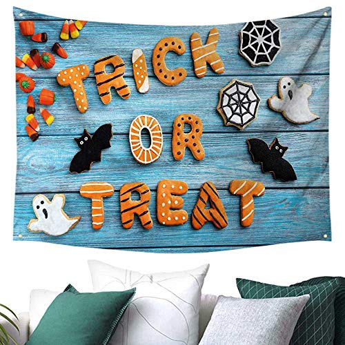 WilliamsDecor Halloween Tapestry for Bedroom Fresh Trick or Treat Gingerbread Cookies on Blue Wooden Table Spider Web Ghost Multicolor Home Decorations 93W x 70L Inch Multicolor