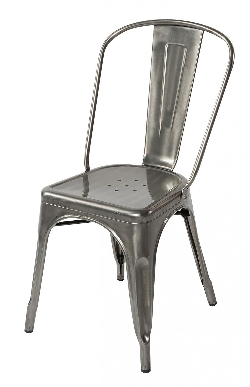 Amazon Com Lemoderno Galvanized Steel Side Chair 4 Gun Metal Chairs