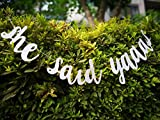 She Said Yaaas Prestrung Glitter Silver Banner with Wine Label Bridal Bachelorette Party Engagement Decorations Supplies Cursive