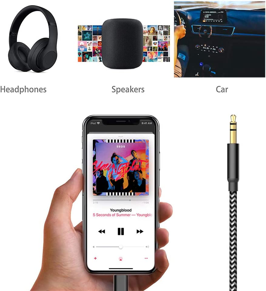 Black-Grey 3.5mm AUX Male Audio Adapter for Car Stereo or Headphone Support iOS 12.1 and Later Micarsky AUX Cord Compatible for iPhone XS//XR//X//11//11 Pro//8//8Plus//7//7Plus