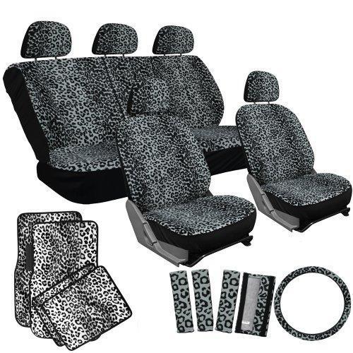 OxGord 21pc Leopard Seat Cover & Floor Mat Set for the Audi A4 Quattro Sedan in Gray Leopard Print w/ Snow White Floor Mats