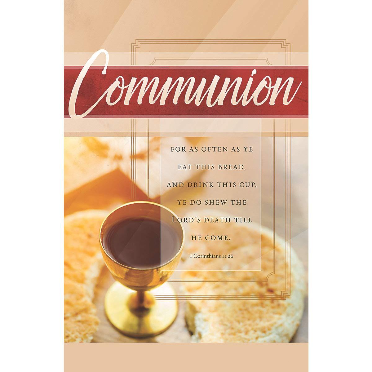 Bulletin Package of 100 General Worship -For As Often Communion KJV Scripture -