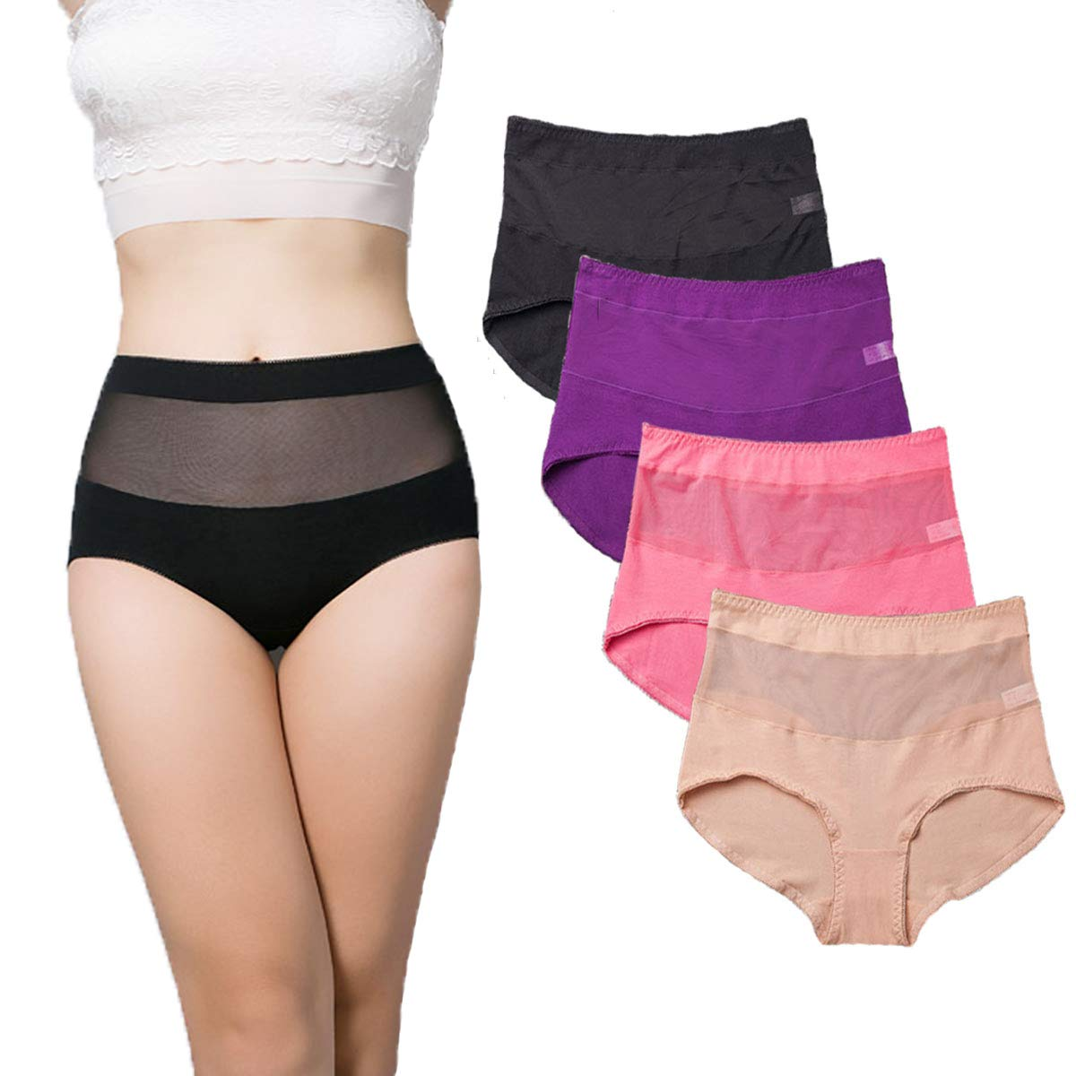 BDSMAGE Ladies High Waisted Underwear Cotton Full Briefs Tummy Control Briefs Knickers Panties 4 Pack