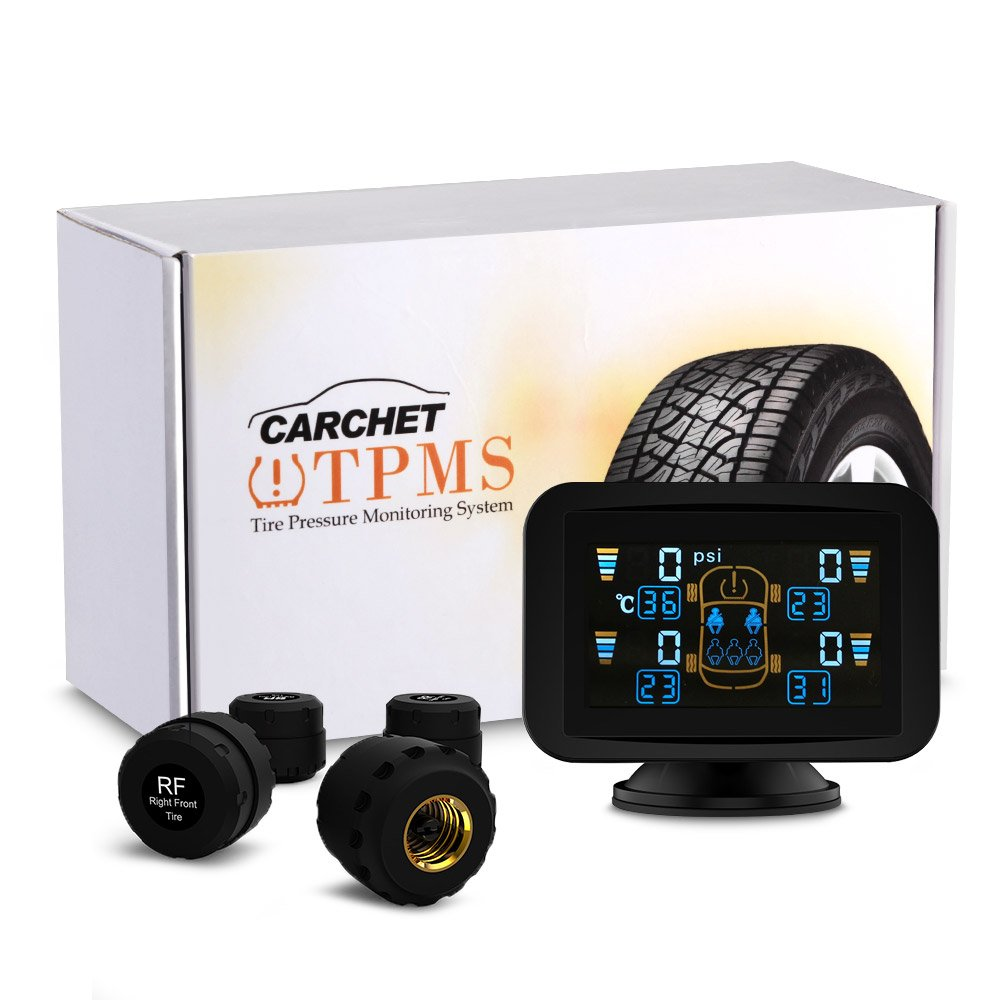 Reifendruckkontrollsystem, CARCHET TPMS Reifendruckmesser kabellos Refendruckprü fer Farb-LCD Display mit 4 Sensoren,Ü berwachungssystem echtzeige Anzeige ü ber Druck und-Temperatur fü r Auto, SUV usw