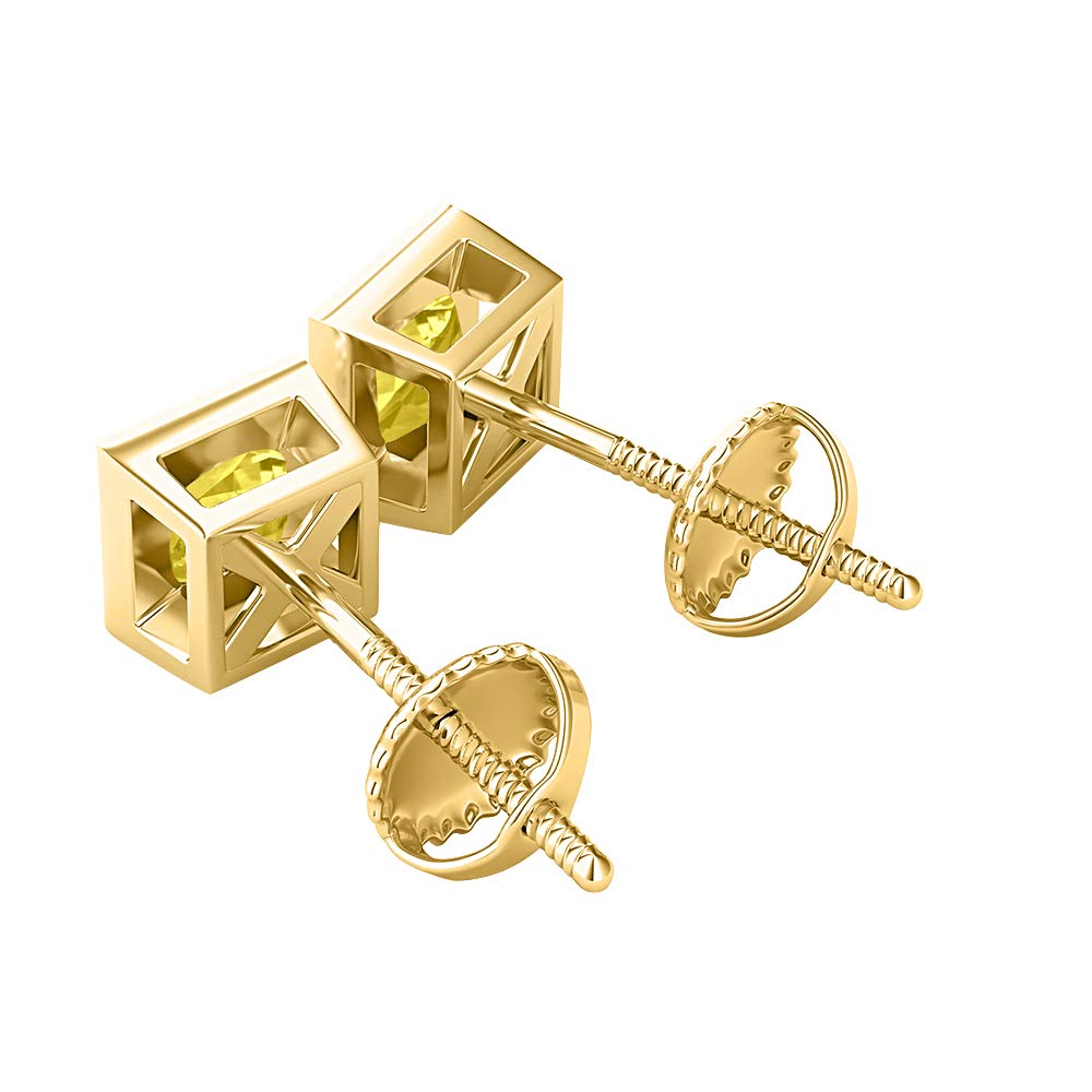 Solitaire Stud Earrings 14K Yellow Gold Over Sterling Silver RUDRAFASHION Bezel Set Princess Cut Created Gemstones 7MM