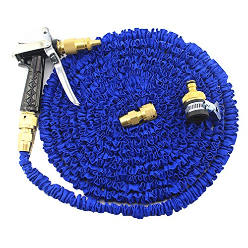 Baiyu Expandable Copper Nozzle Garden Hose Pipe Flexible Durable No Kink Water Spray Gun Spray Nozzle Magic Stretch Hosepipe 3 Adjustable Modes with Standard and Universal Tap Connectors 75FT Blue
