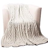 "Battilo Knitted Luxury Chenille Throw blanket,oversize 51"" by 67"", cream"