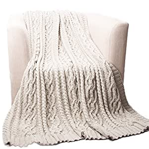 "Battilo Knitted Luxury Chenille Throw blanket, 51"" by 67"", Light Gray"