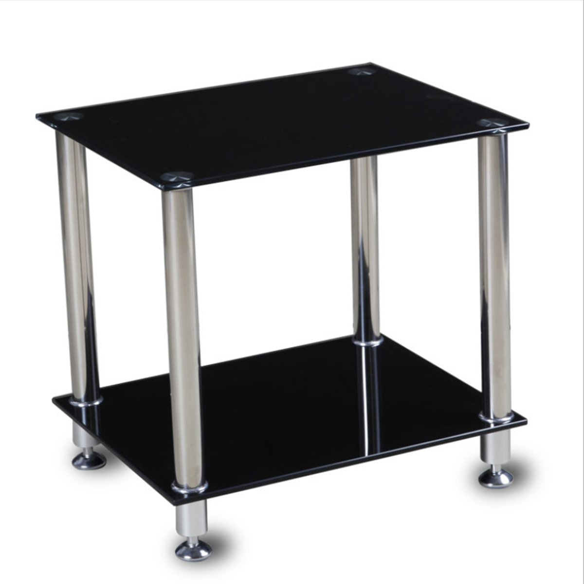 2-Tier Black Glass Coffee Table Square End Table Sofa Table Stainless Steel Legs with Storage Shelf, 50x40x48cm GOTOTOP