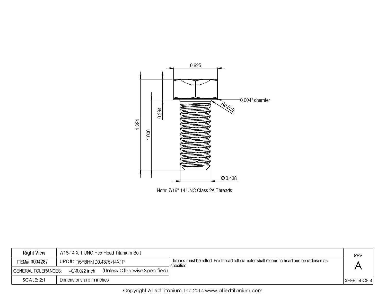 Ti-6Al-4V Grade 5 7//16-14 X 1 UNC Titanium Hex Head Bolt Pack of 4 Allied Titanium 0004287,