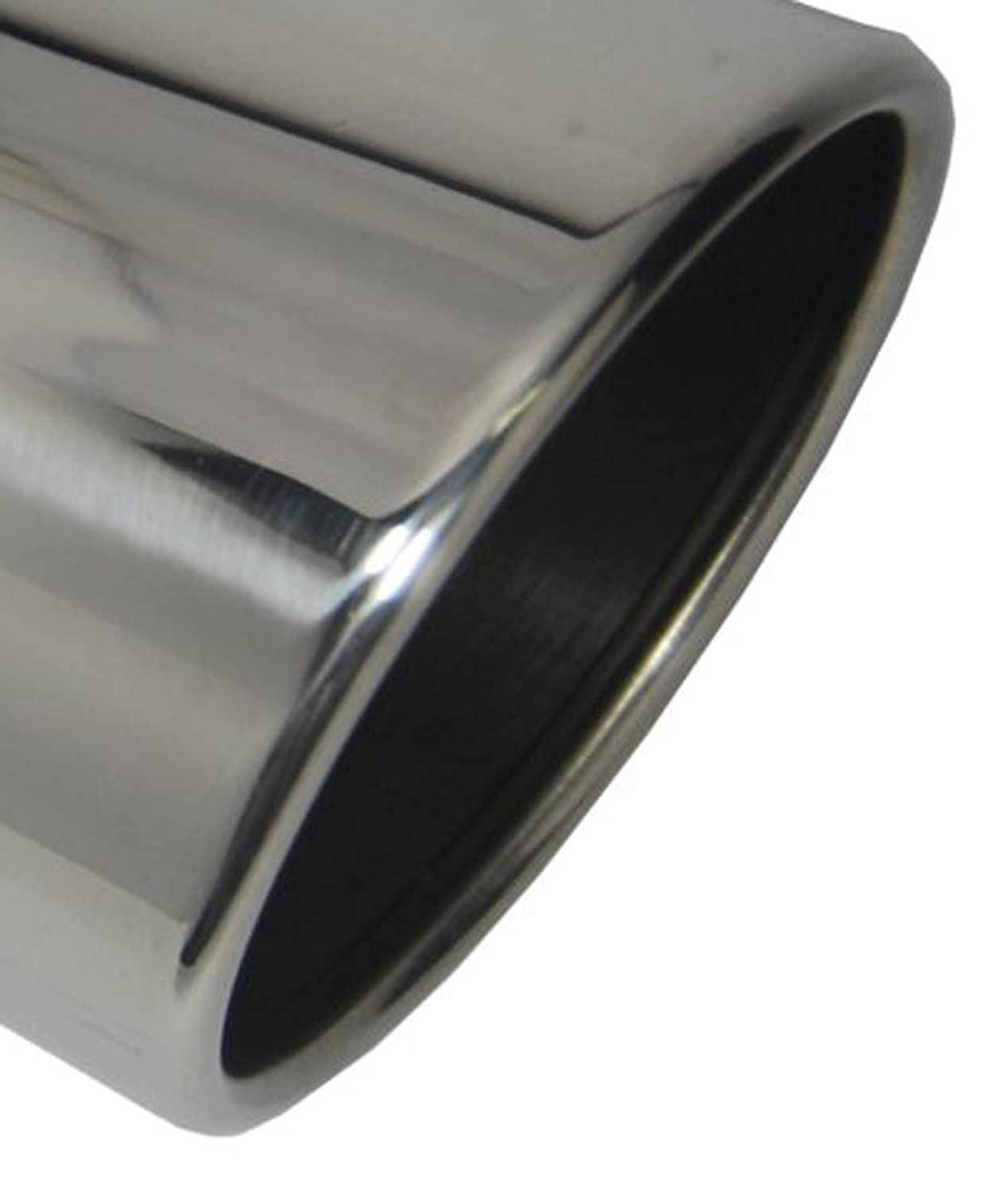 Wesdon Exhaust Tip W60012-400-BOSS-RS 4.00 Inch Inlet 6.00 Inch Dia 12.00 In Long Rolled Slant Bolt On Stainless Steel Mirror Polished Exhaust Tip