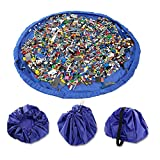 Yamde Children's Play Mat and Toys Storage Bag, Large 59 Inches Diameter Multi Purpose Kid's Activity Mat and Toys Organizer, Sturdy Canvas Material, Blue