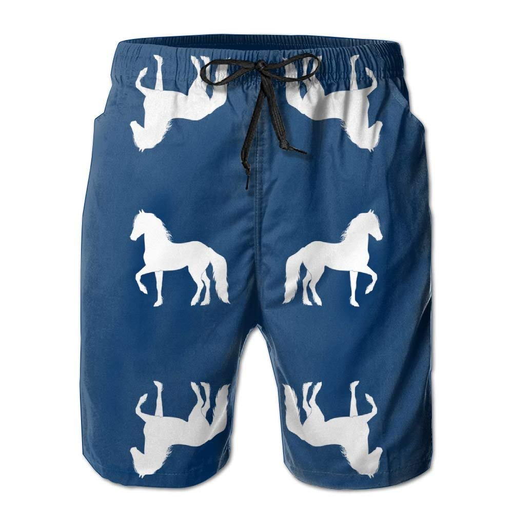 3D Print Fresian Silhouette Navy Fabric Shorts Fast Dry Beach Board Shorts Mens Swim Trunks