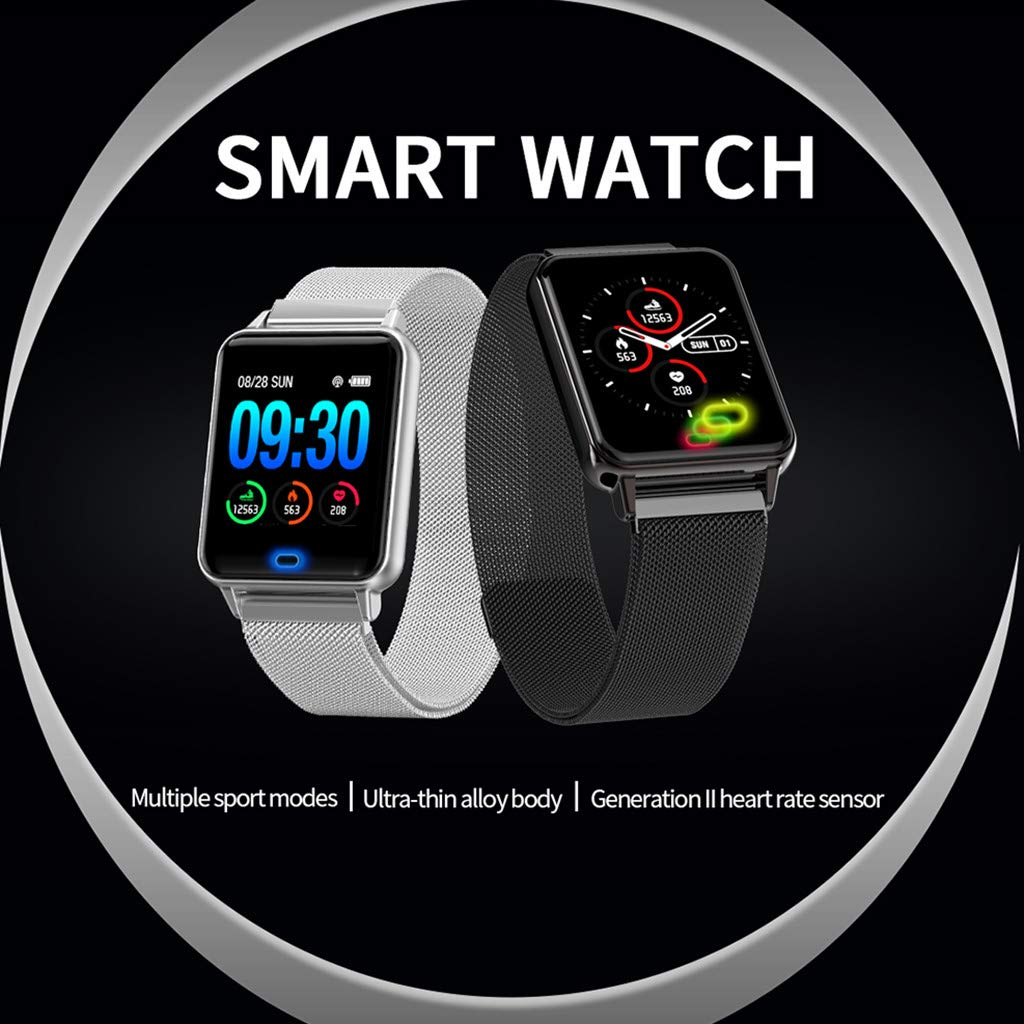 YNAA for Android iOS, Waterproof Smart Sport Watch, Blood Pressure Heart Rate Monitor Remote Photography Smart Bracelet (Black) by YNAA (Image #4)