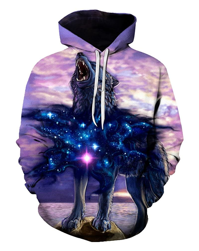 Doxi Unisex Sweatshirts Men Digital Print Wolf Hoodie Pullover 3D Hooded Cool Graphics Tees