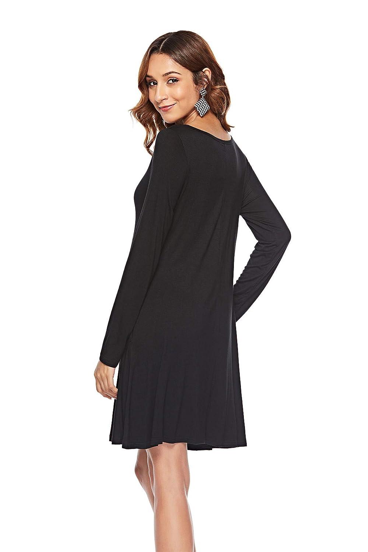 Amazon Hualaimei Womens Long Sleeve Loose Shirt Dress Casual