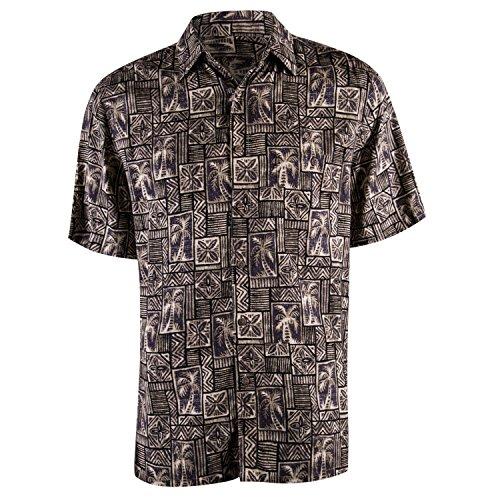 (Campia Men's Rayon Print Shirt (Taupe 17, M))