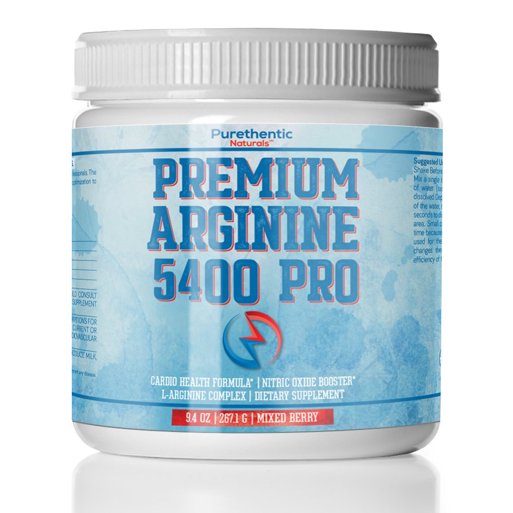 L-Arginine Powder 5400mg — Premium Nitric Oxide Powder — Supports Blood Pressure & Cholesterol — Mixed Berry Flavor - Promotes Natural Energy & Cardiovascular Health - (9.4 oz)