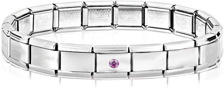 AKKi jewelry Italian Charms Armband mit Zirkinia Lila Links Glieder Set Kult modele f/ür Frauen Italy Charm Edelstahl Schmuck Silber Modern