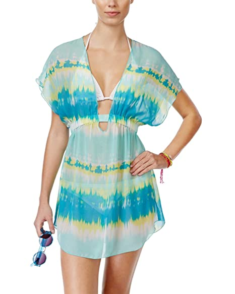 50d03193f557d Image Unavailable. Image not available for. Color: Miken Smocked Tie-Dye  Sheer Cover-Up Junior's Swimsuit ...