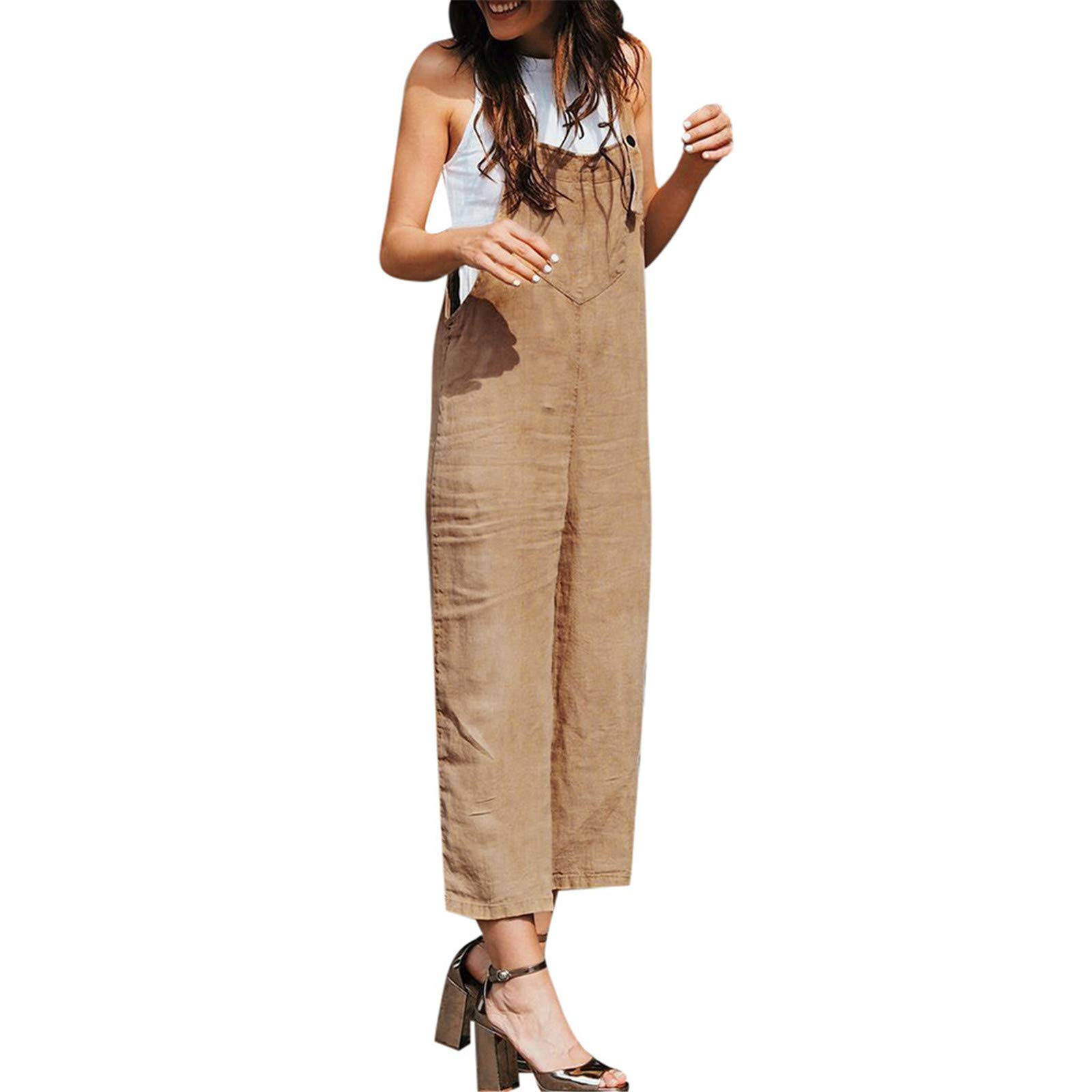 Thenxin Womens Casual Jumpsuits Overalls Solid Color Baggy Bib Pants Plus Size Wide Leg Rompers (Khaki,XL)