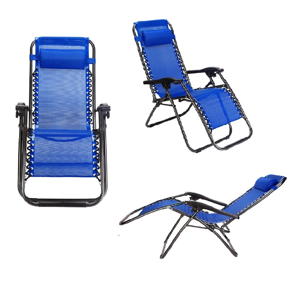 2-Pack Zero Gravity Outdoor Lounge Chairs Blue Patio Adjustable Folding Reclining Chairs with Removable Pillow Blue